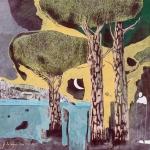 Gaëtan de Séguin  Paysage / 3 pins Techniques mixtes sur toile - 50 cm x 50 cm